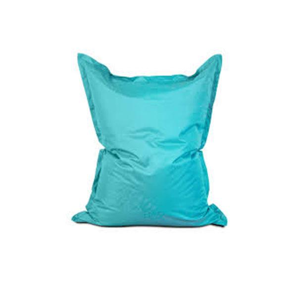 pouf géant bleu turquoise pour égayer vos réceptions, parfait fauteuil d'appoint en extérieur comme en intérieur